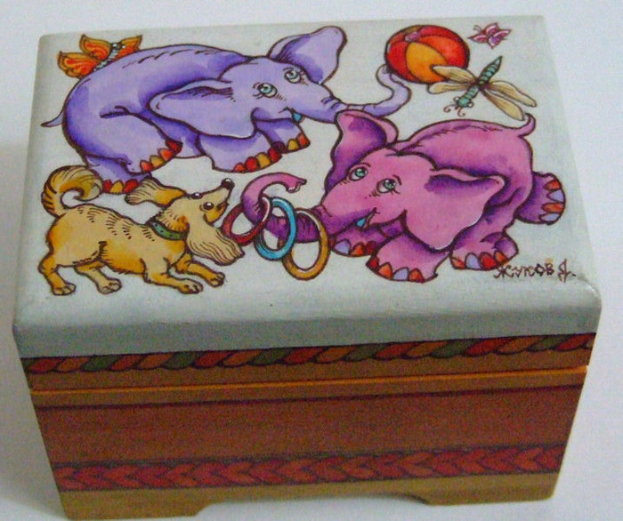 "Handpainted Wooden Box ""Elephants"" By Dimitry Zhukov"