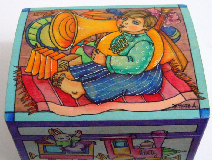 """Handpainted Wooden Box """"Child Playing the Tuba"""" By Dimitry Zhukov"""