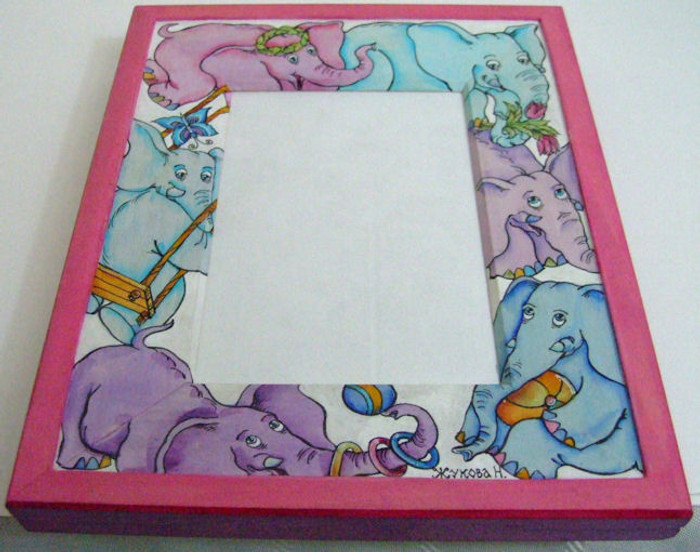 """Handpainted Wooden Picture Frame """"Elephants"""" by Dimitry Zhukov"""