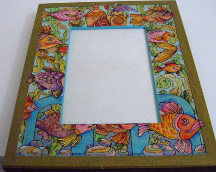 """Handpainted Wooden Picture Frame """"Fish"""" by Dimitry Zhukov"""