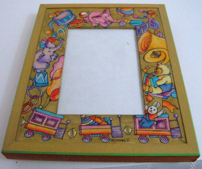"""Handpainted Wooden Picture Frame """"Circus Animals"""" by Dimitry Zhukov"""