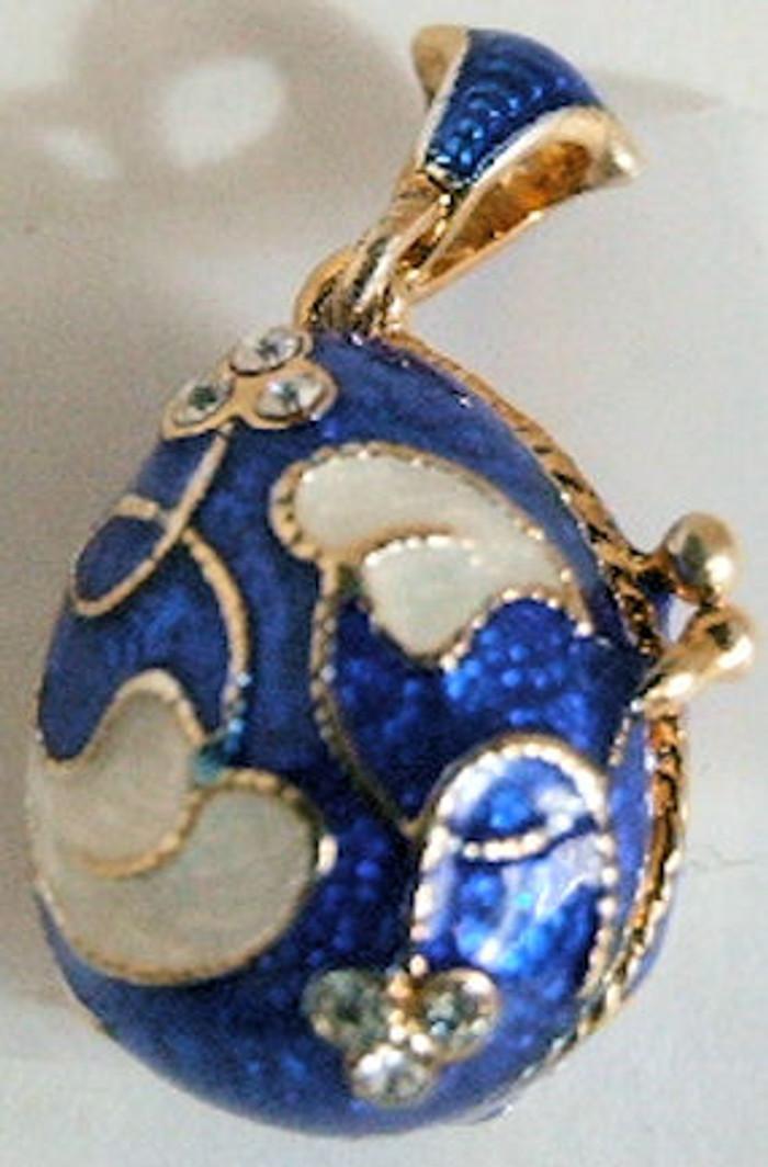 Faberge Egg Pendant Bluie Enamel w/ Flowers #122502