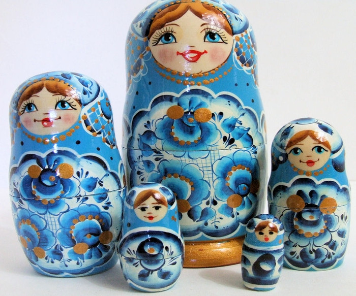 5pcs Hand Painted Light Blue Floral Russian Nesting Doll FLORAL DESIGNS