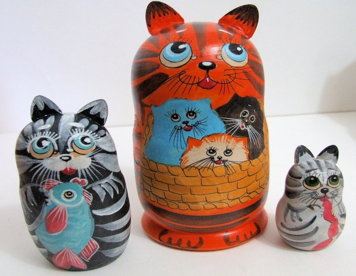3pcs Hand Painted Russian Nesting Doll of CATS w/ Handcarved Ears Style 2