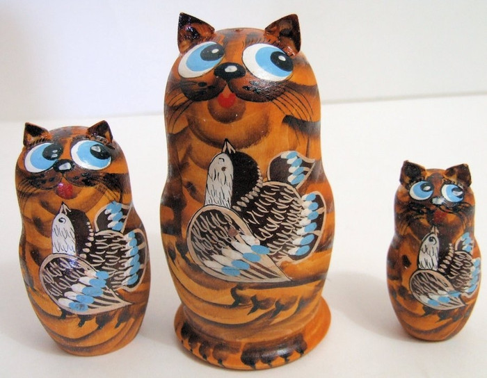 3pcs Hand Painted Russian Nesting Doll of CATS w/ BIRDS & Handcarved Ears