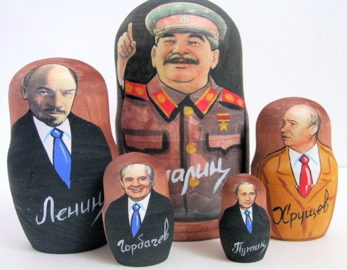 5pcs Russian Nesting Doll of Stalin & Other Russian Leaders