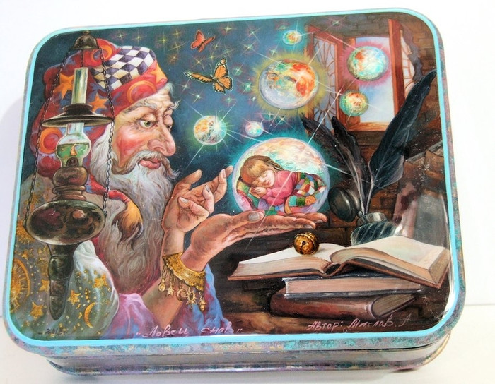 """Hand Painted One of a Kind Fedoskino Russian Lacquer Box """"WIZARD W/ MAGIC BALL"""" BY MASLOV"""