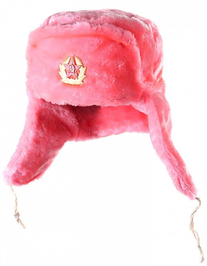 Authentic Russian Ushanka Pink Hat w/ Soviet Army Badge Emblem Size XL