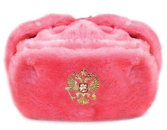 Authentic Russian Ushanka Pink Hat w/ Soviet Imperial Eagle Emblem Size XL