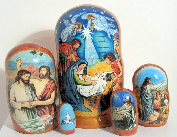 """5pcs Hand Painted Russian Nesting Doll """"Nativity of Christ"""""""