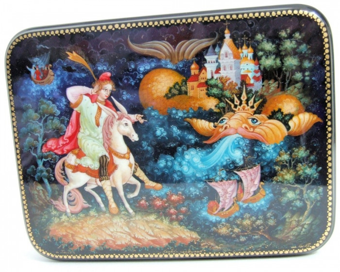 """Hand Painted Palekh One of a Kind Russian Lacquer Box """"The Humpbacked Little Pony"""" by Kog"""