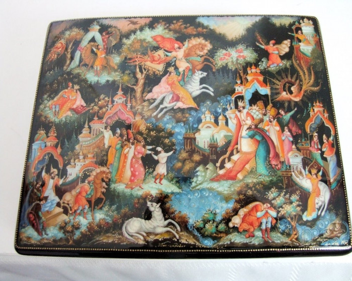 """Hand Painted One of a Kind Palekh Russian Lacquer Box """"Ivan Tsarevich & Gray Wolf"""" By Kog"""