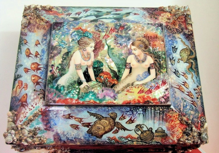 """One of a Kind Khouli Russian Lacquer Box """"Underworld Mermaids"""" by Donstov"""