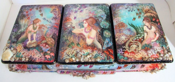 "Huge One of a Kind Khouli Russian Lacquer Box ""Mermaids"" by Dontsova"