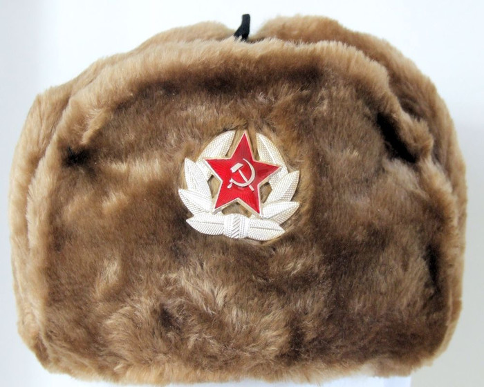 Authentic Russian Military Camel Brown KGB Ushanka Hat W/ Soviet Red Army Badge Included