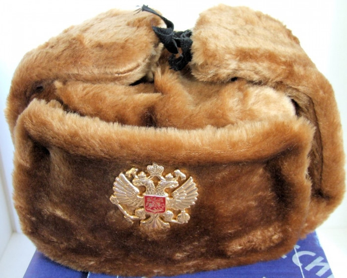 Authentic Russian Military Camel Brown KGB Ushanka Hat W/ Soviet Imperial Eagle Badge Included