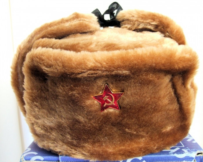 Authentic Russian Military Camel Brown KGB Ushanka Hat W/ Soviet Red Star Badge Included