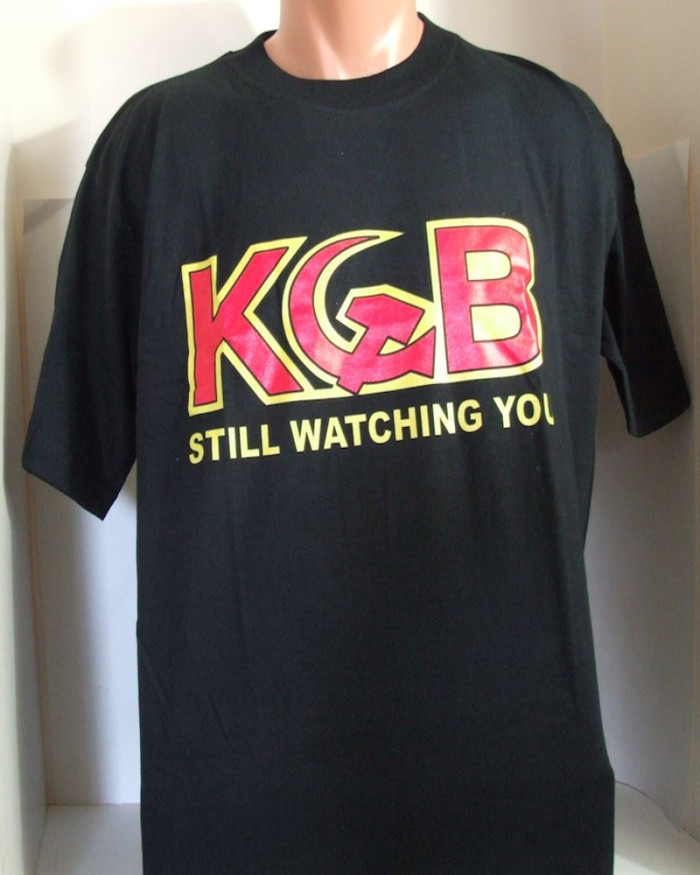 "Authentic Russian T-Shirt ""KGB is Watching"" Made in Russia"