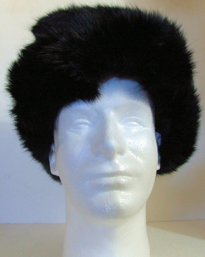 Authentic Russian 100% Rabbit Fur Black Ushanka Hat w/ Ear Flaps
