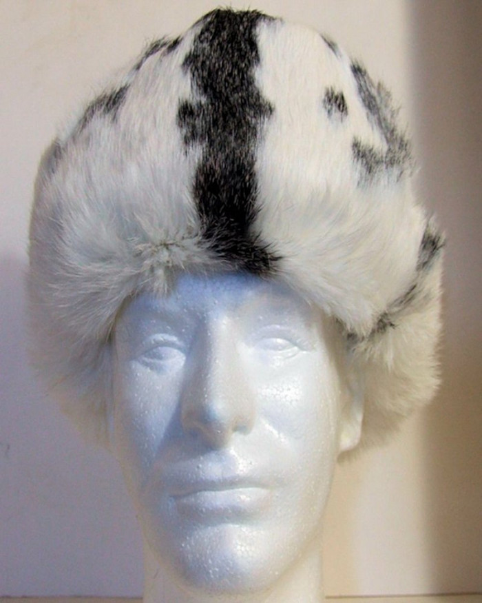 Authentic Russian 100% Rabbit Fur Ushanka White w/ Patches of Black Ear Flap Hat
