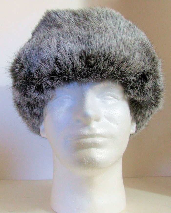 Authentic Russian 100% Rabbit Fur Ushanka Silver w/ Black Ear Flap Hat size L (60)