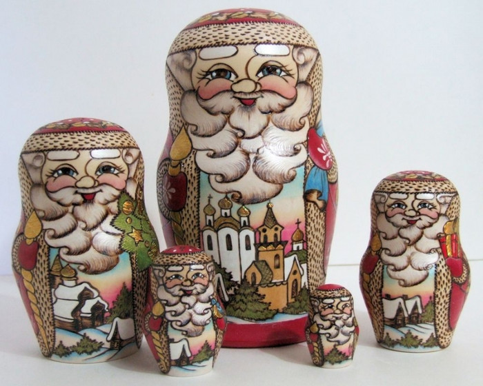 5pcs Hand Painted Russian Nesting Doll of Santa's w/ Village Scenes