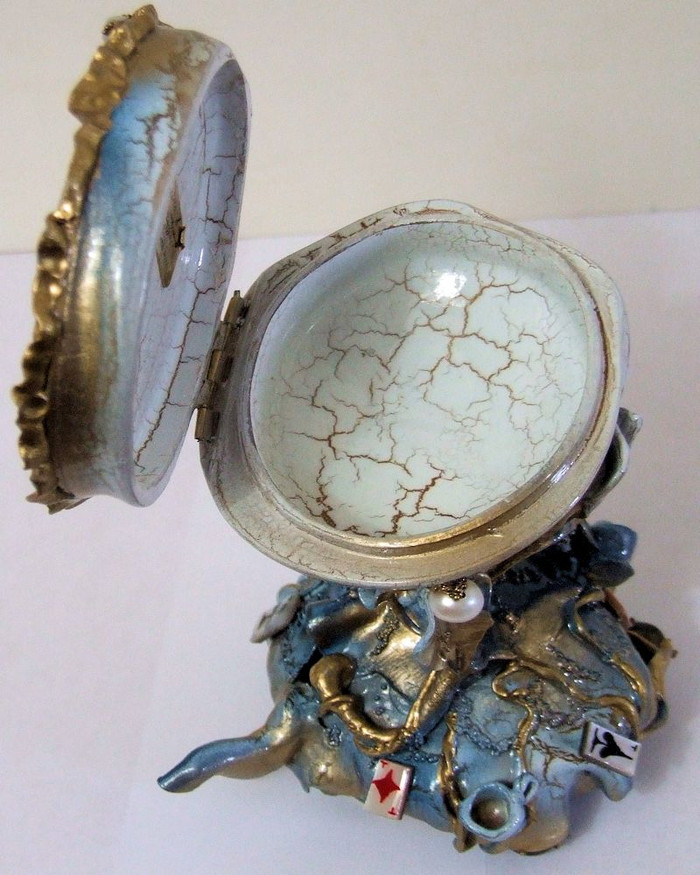 """One of a Kind Russian Lacquer Box """"Cheshire Rabbit"""" by Shenshina"""
