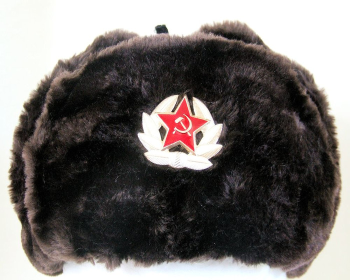 Authentic Russian Military Dark Brown KGB Ushanka Hat W/ Soviet Red Army Badge Included