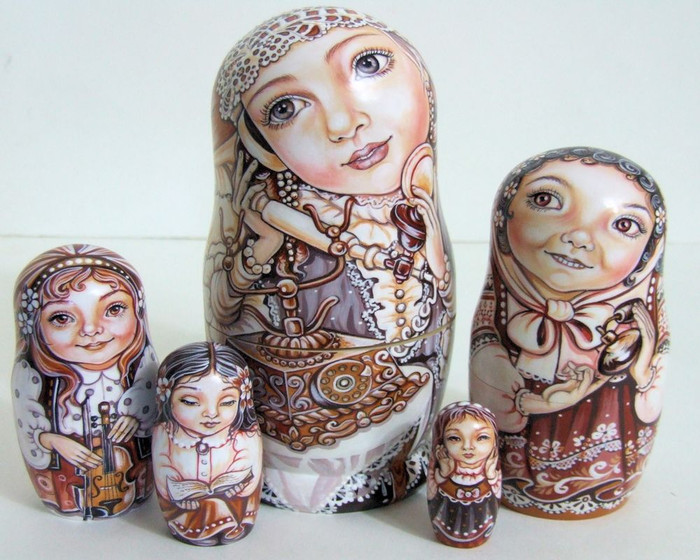 "5pcs Hanpainted One of a KInd Russian Nesting Doll ""Little Girls"" by Chemeleva"