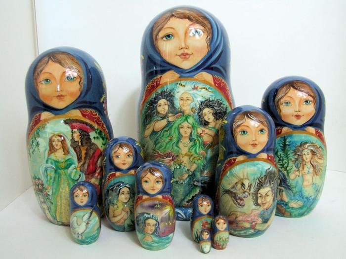 "One of a kind 10pcs Russian Nesting Doll ""Lttle Mermaid"" by Frolova"