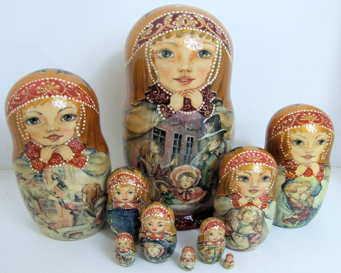 """One of a kind 10pcs Russian Nesting Doll """"Little Match Girl"""" by Zaitseva"""