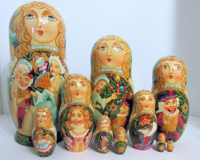 """One of a kind Hand Painted Russian Nesting Doll """"The Nutcracker"""" by Smirnova"""