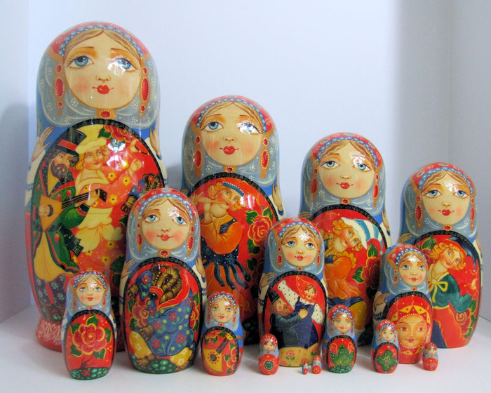 "15pcs Russian Nesting Doll One of a Kind ""Skomorokhi"" by Smirnova"
