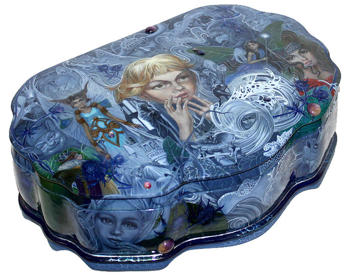 """Fedoskino Hand Painted Russian Lacquer Box """"Fairy Dream"""" By Maslov"""