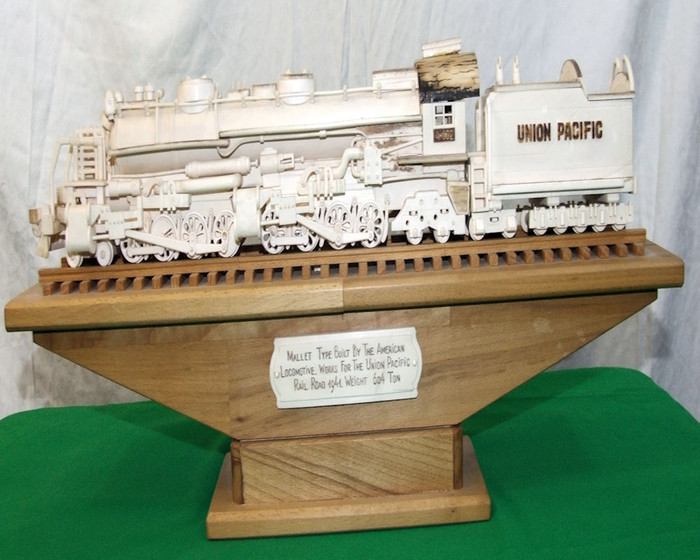 Hand Carved One of a Kind Mammoth Tusk Train Model of the Union Pacific