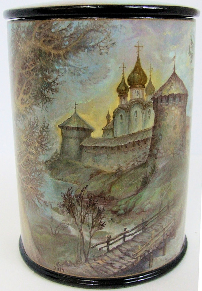 """Fedoskino Hand Painted One of a Kind Russian Lacquer Box """"Old Russian City and Churches"""" by Tipyakov"""