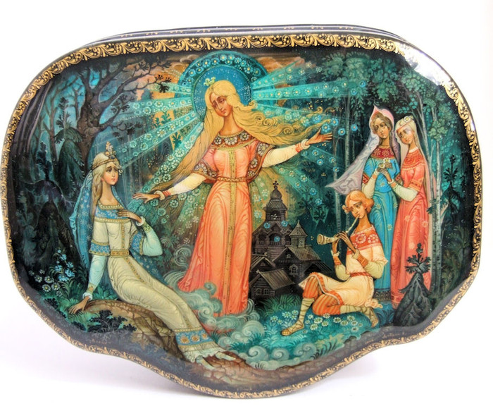 "Khouli One of a Kind Russian Lacquer Box ""Spring and the Snowmaiden"" by Eugeny Dobrin"