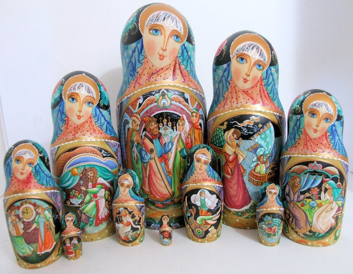 "10pcs One of a Kind Hand Painted Russian Nesting Doll ""The tale of Tsar Sulan & Swan Princess by Plotnikova"