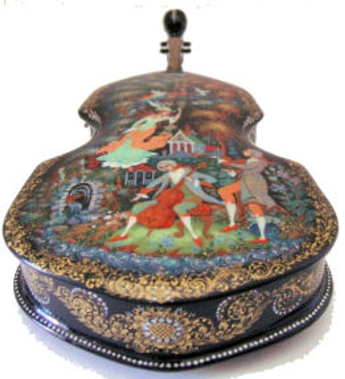 Palekh Lacquer Box (Violin) by Edukova