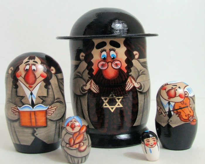 5pcs Hand Painted Russian Nesting Doll of a Jewish Family
