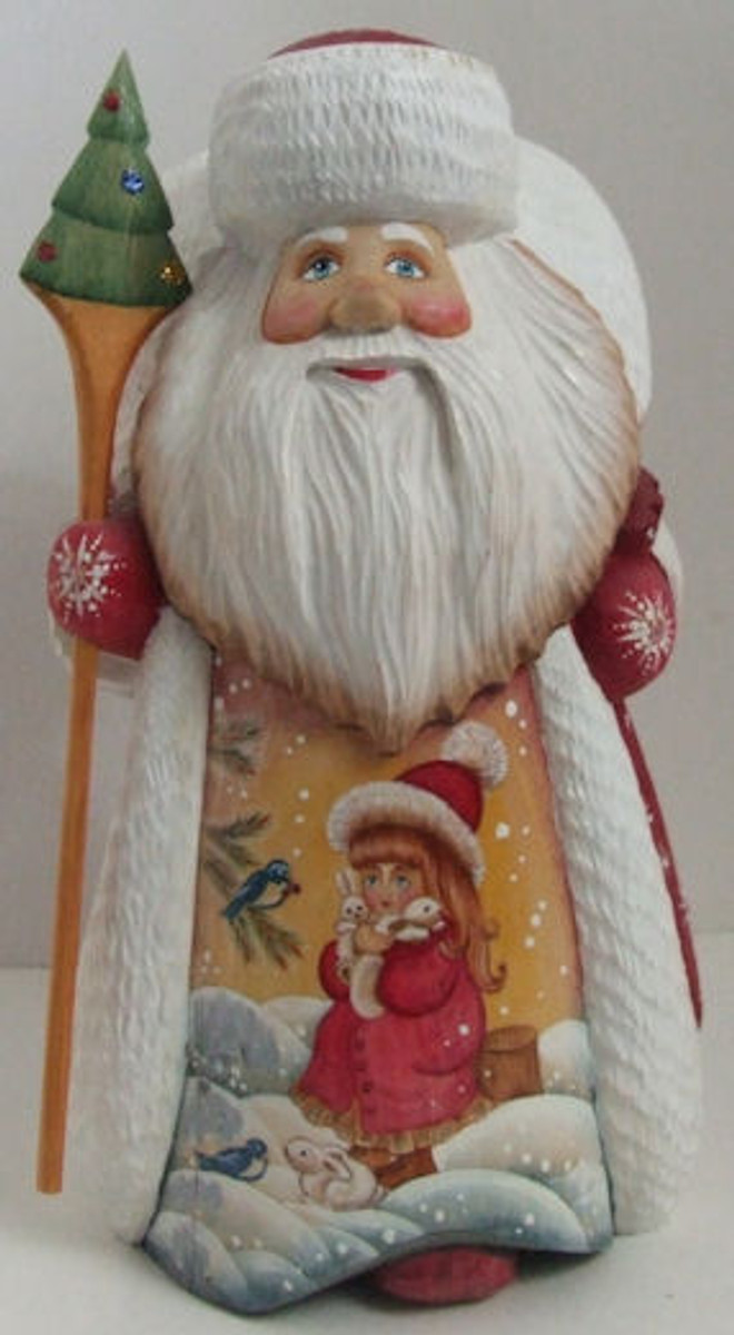 "Handcarved Father Frost Santa ""Little Girl with Bunnies"""