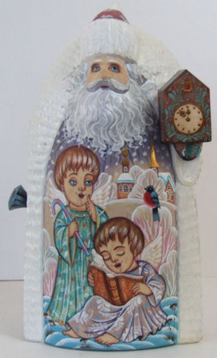 "Russian Handcarved Santa ""Angels"""