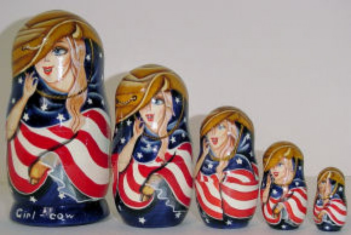 Cowgirl 5pcs. set w/ American flag
