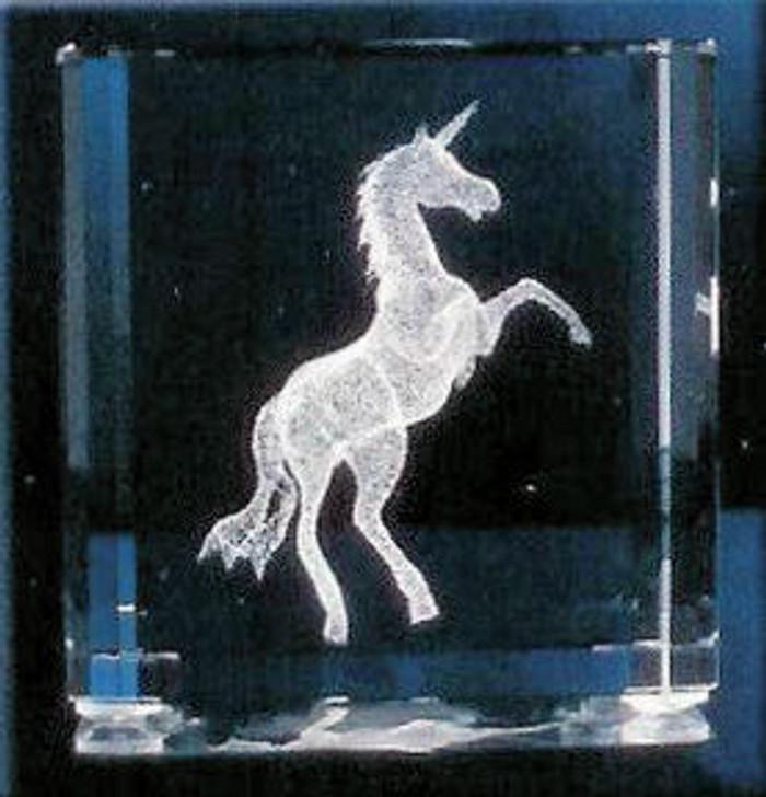 Unicorn in Squared Block of glass