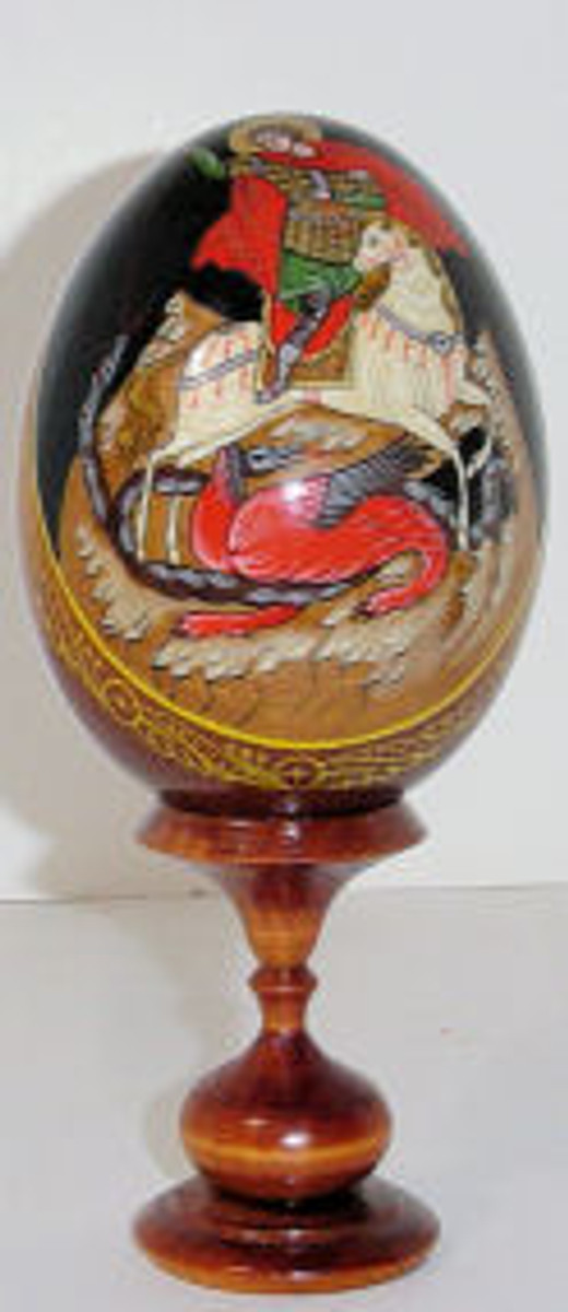Hand painted egg of St. George killing the dragon