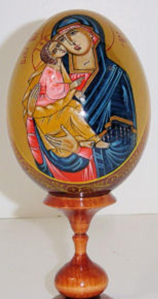 A hand painted religous egg