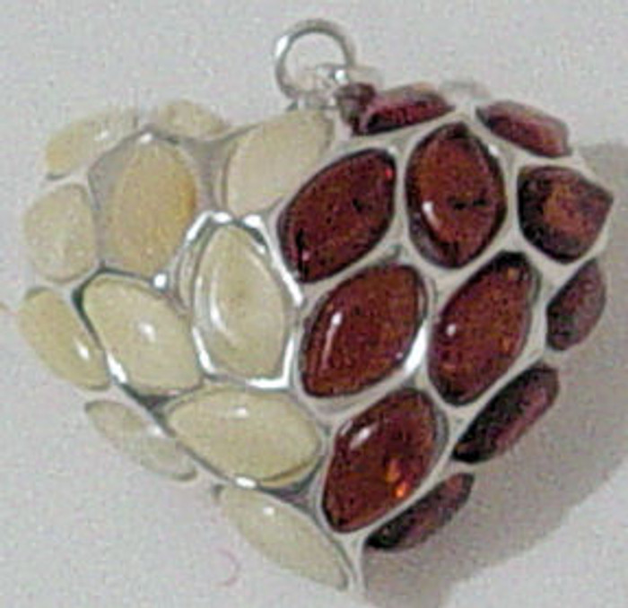 Amber pendant in heart shape with different amber stones