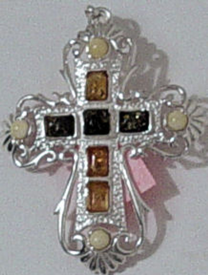 Amber cross handmade with different amber stones