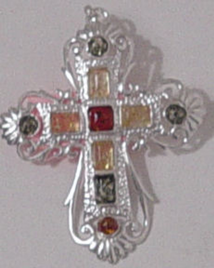 Amber cross handmade from different amber stones