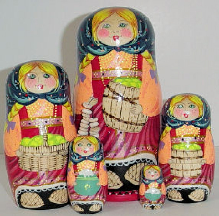 5pcs. set of a girl holding apple basket w/bracelet